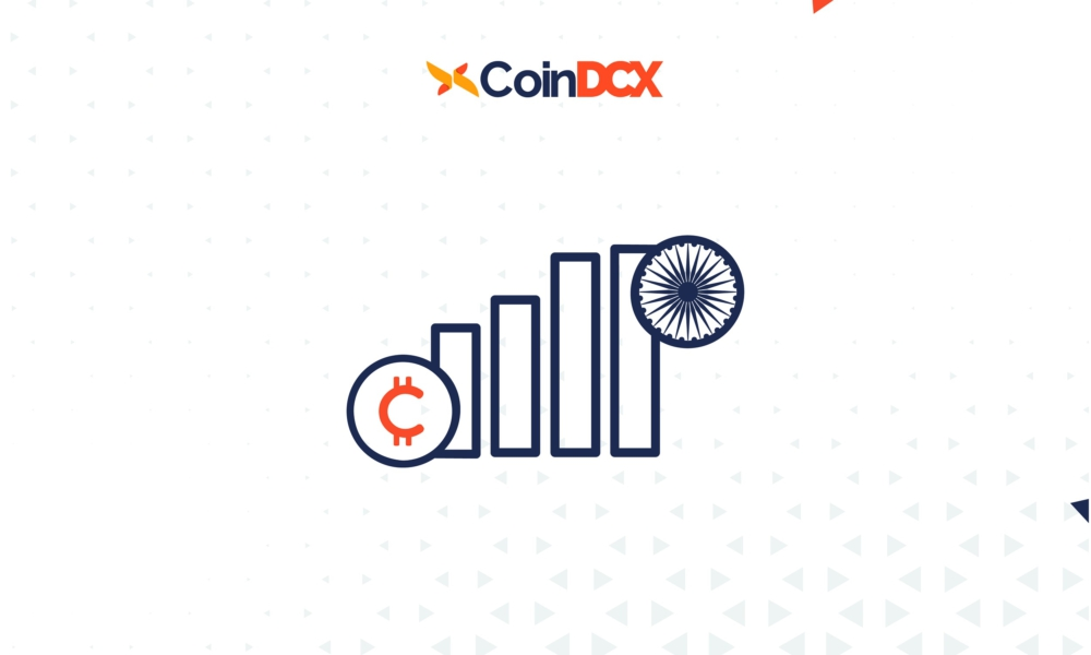 bar charts with India's wheel and cryptocurrency symbol